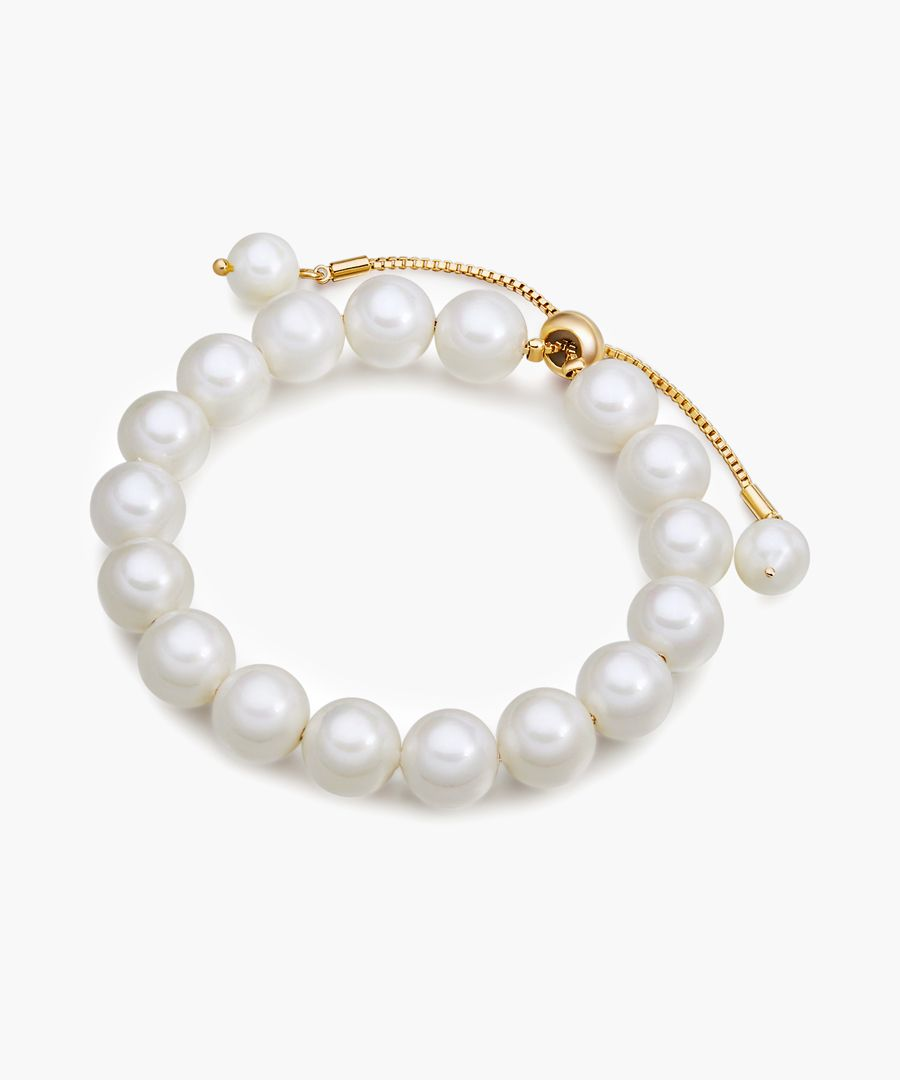 Gold-tone and shell pearl bracelet
