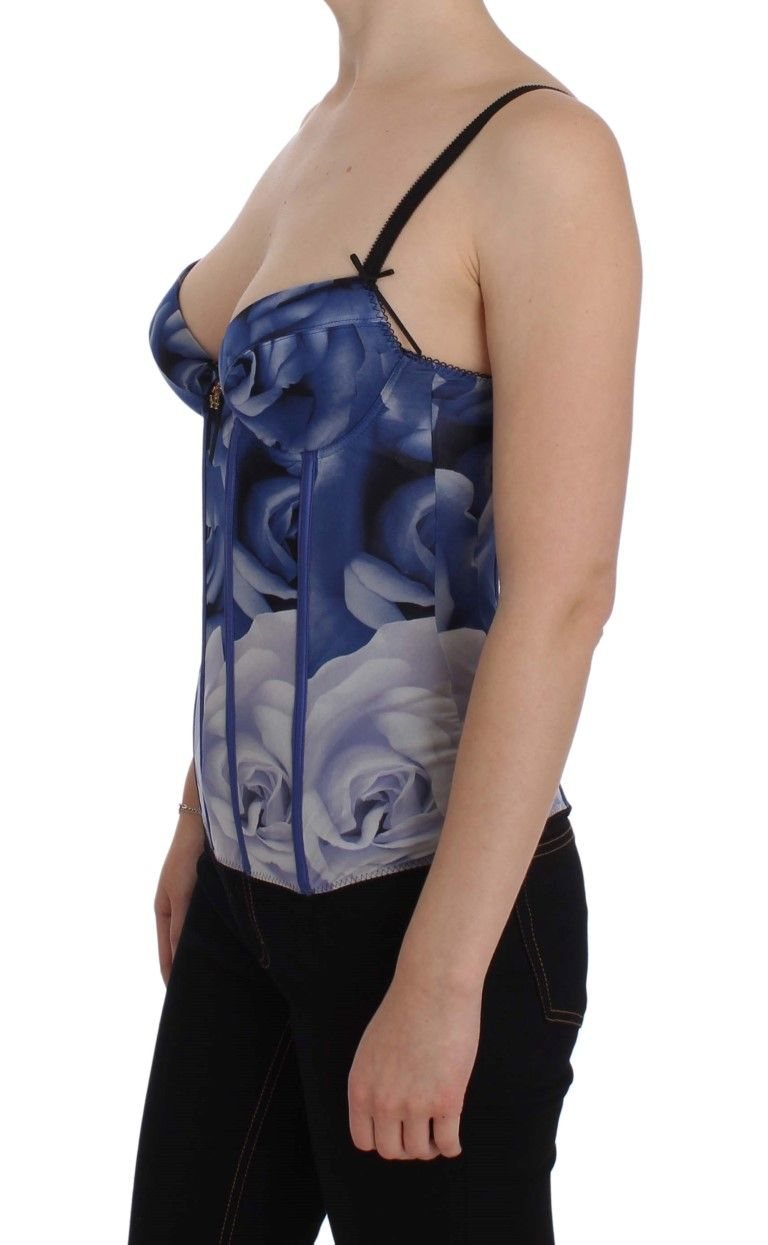 Cavalli Blue Corset Bustier Top Underwear