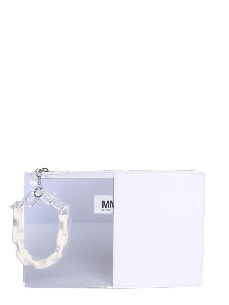 MAISON MARGIELA WOMEN'S S41WF0053P0299H7378 WHITE LEATHER POUCH