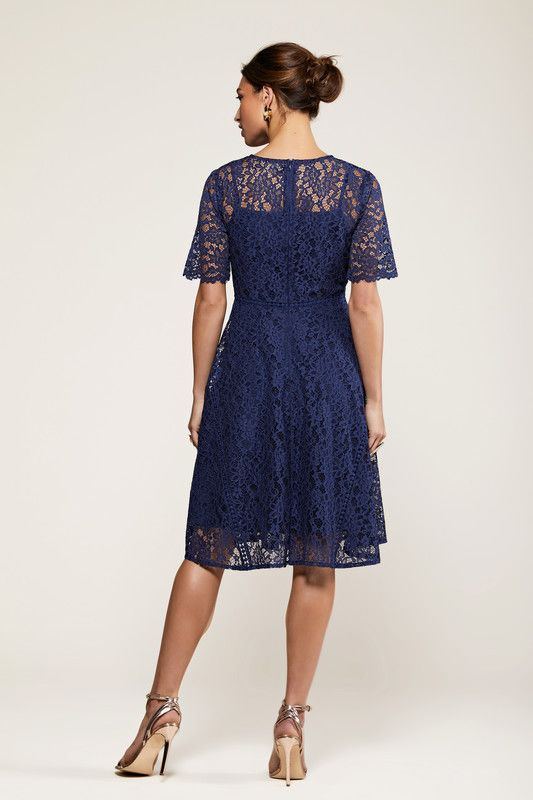 Navy Fit And Flare Lace Dress With Lace