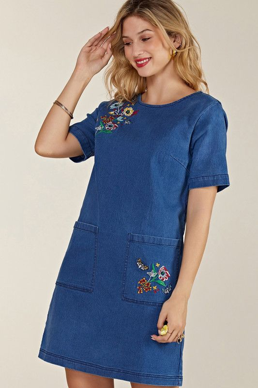Blue Butterfly Embroidered Denim Tunic With Pockets