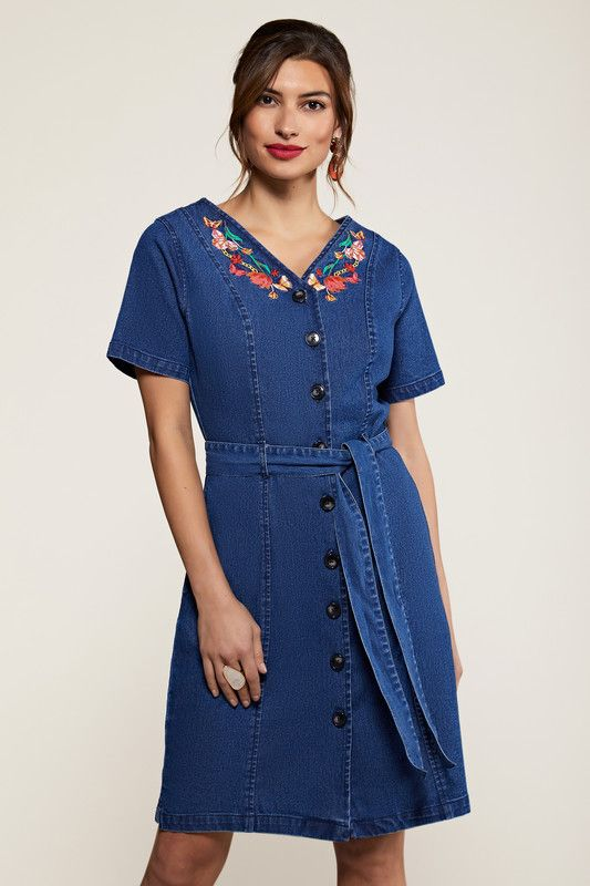 Blue Butterfly Embroidered Denim Shirt Dress