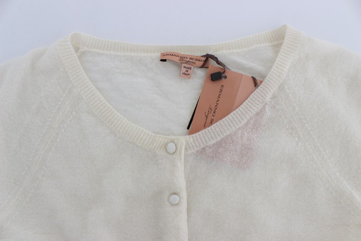 Ermanno Scervino White Wool Blend Sweater Cardigan