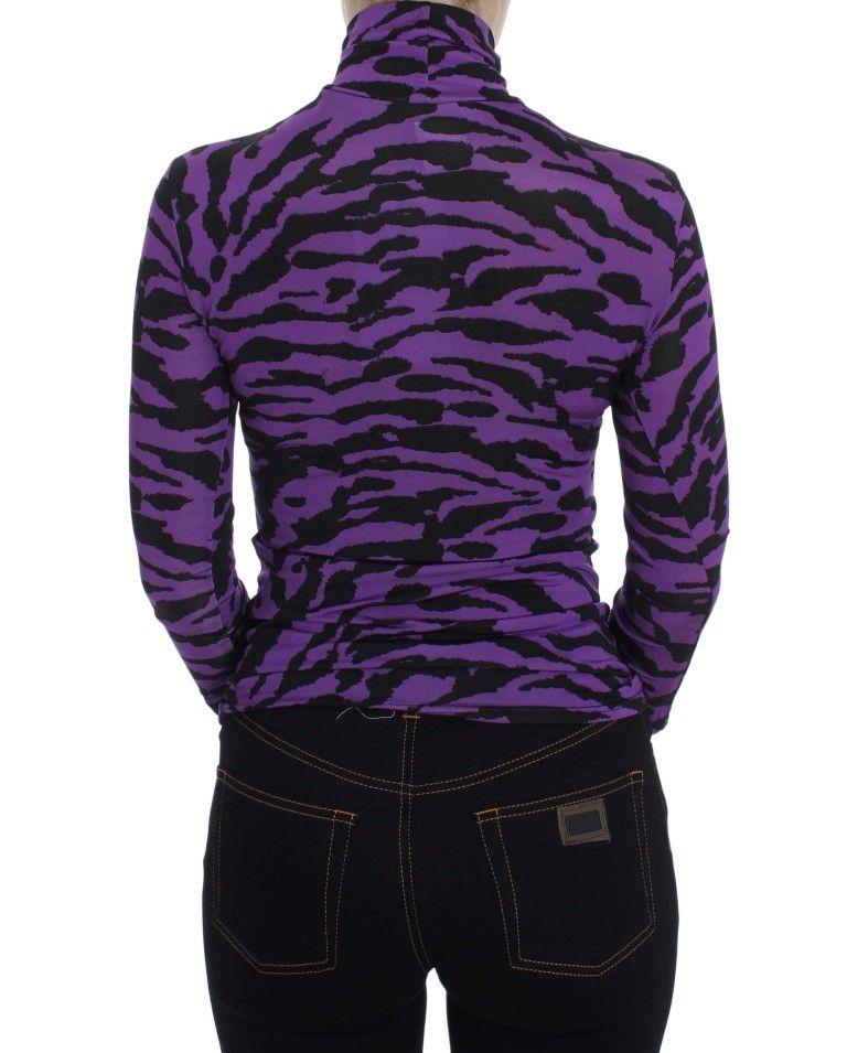 EXTE Purple Tiger Print Stretch Turtleneck Sweater