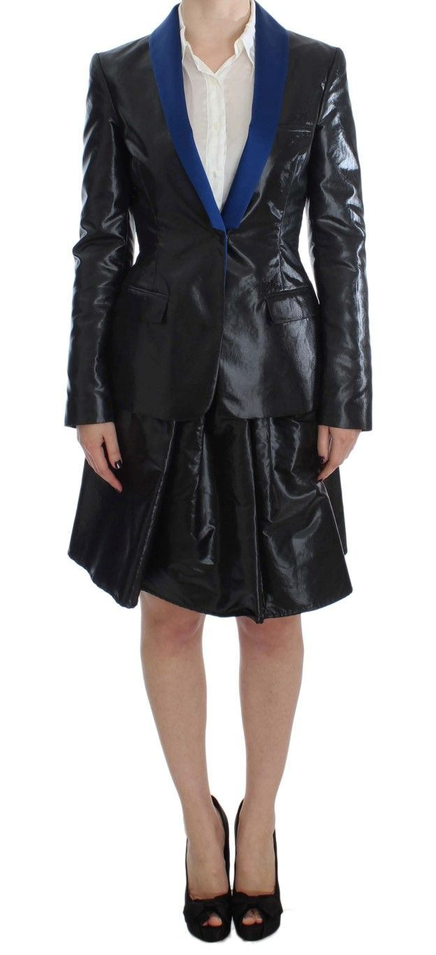EXTE Black Blue Two Piece Suit Skirt & Blazer