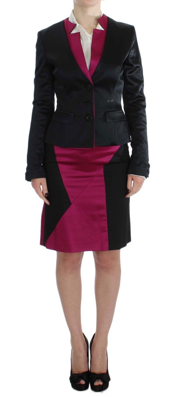 EXTE Black Pink Two Piece Suit Skirt & Blazer