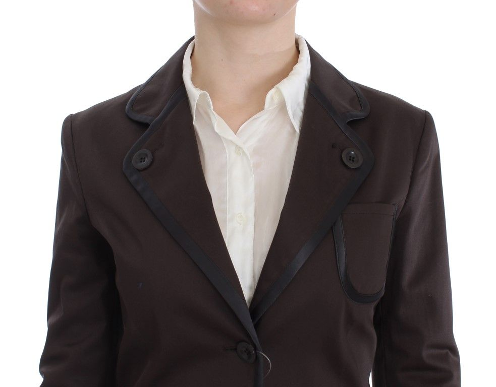 EXTE Brown Stretch Two Button Suit