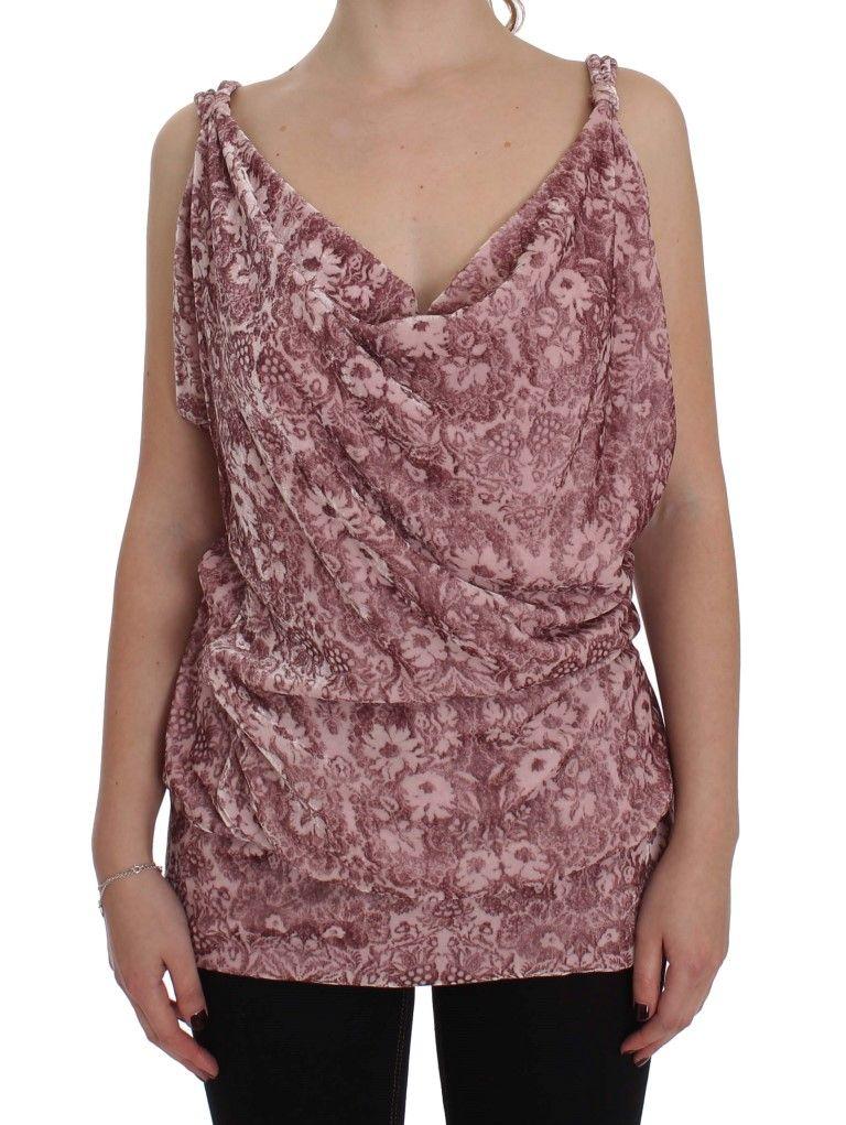 EXTE Pink Floral Print Viscose Silk Blouse Top