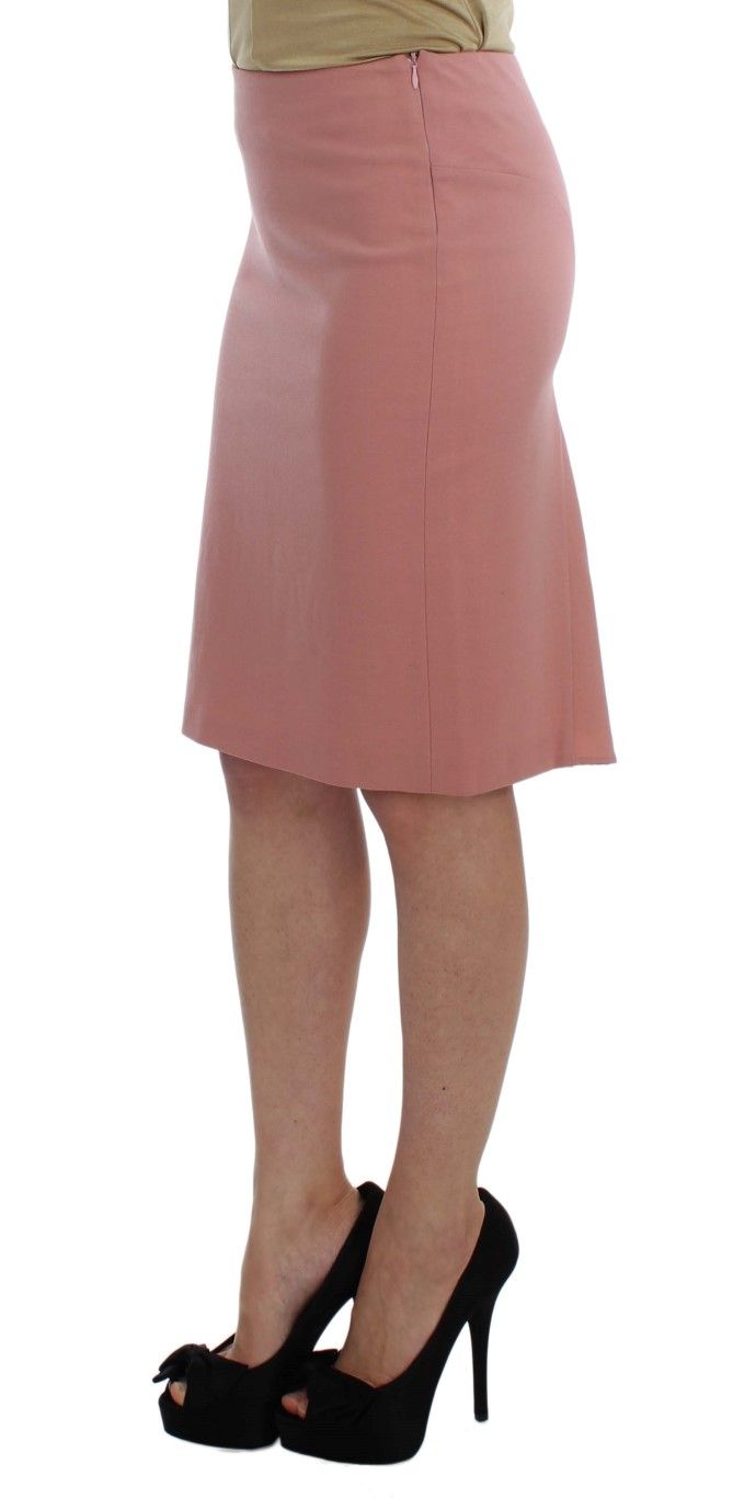 EXTE Pink Wool Stretch Straight Pencil Skirt