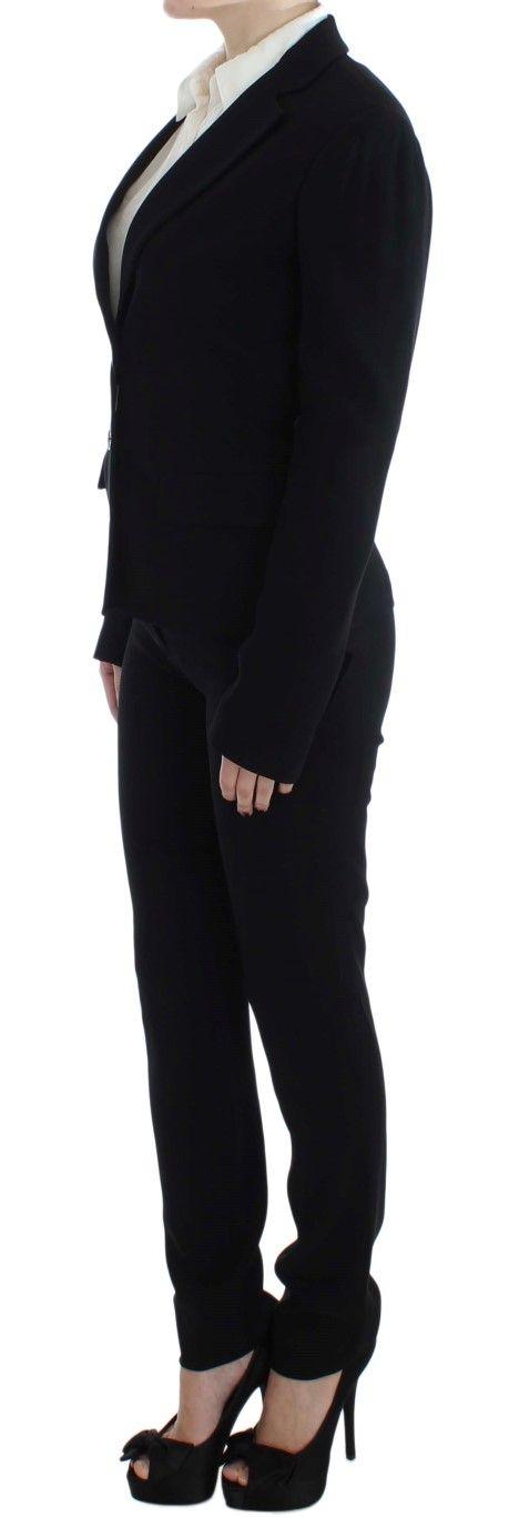 EXTE Black Two Button Two Piece Suit