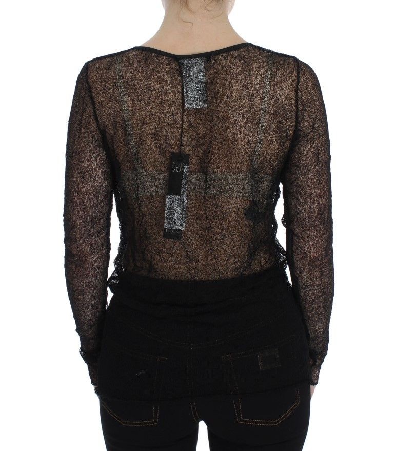 PLEIN SUD Black Transparent Blouse Top