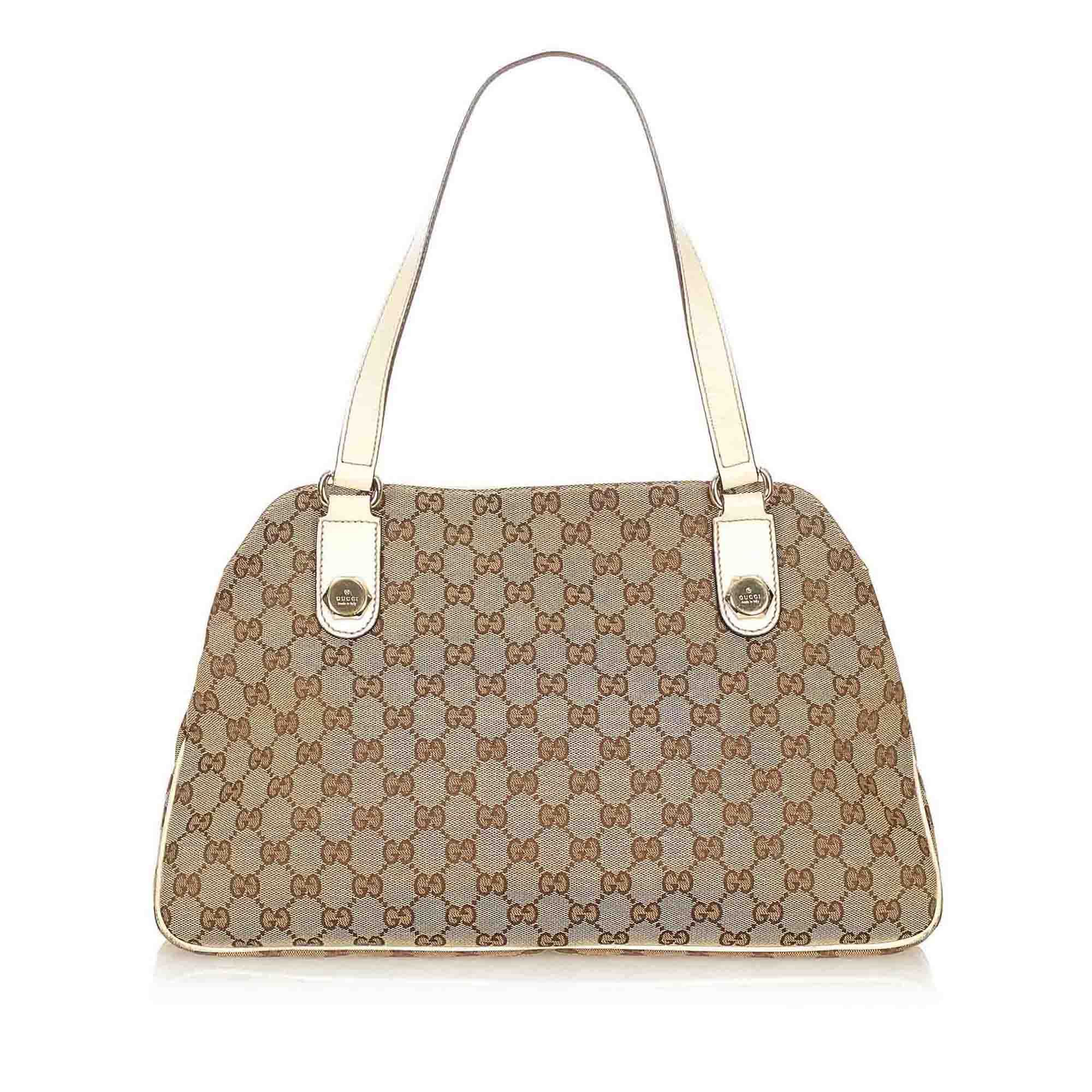 Vintage Gucci GG Canvas Charmy Shoulder Bag Brown