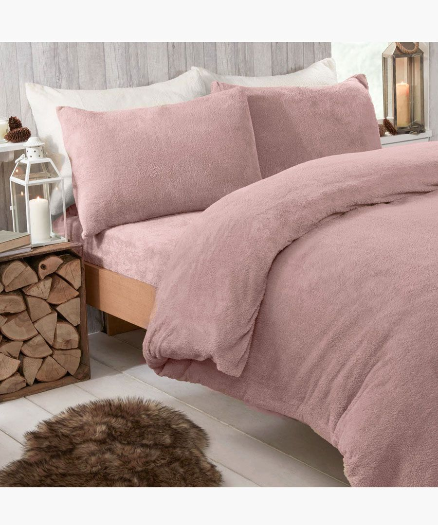 Blush teddy fleece single duvet set