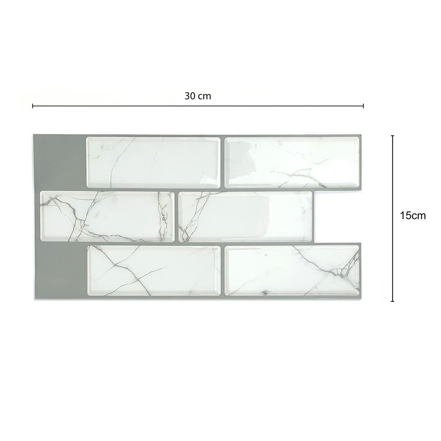 White Marble Eclectic Glossy 3D Sticker Tile 30 x 15cm - 12 pcs Tiles Wall Stickers, Kitchen, Bathroom, Living room, peel and stick