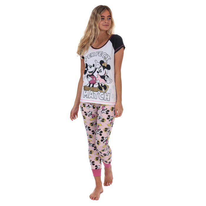 Women's Disney Minnie and Mickey Pyjamas in White