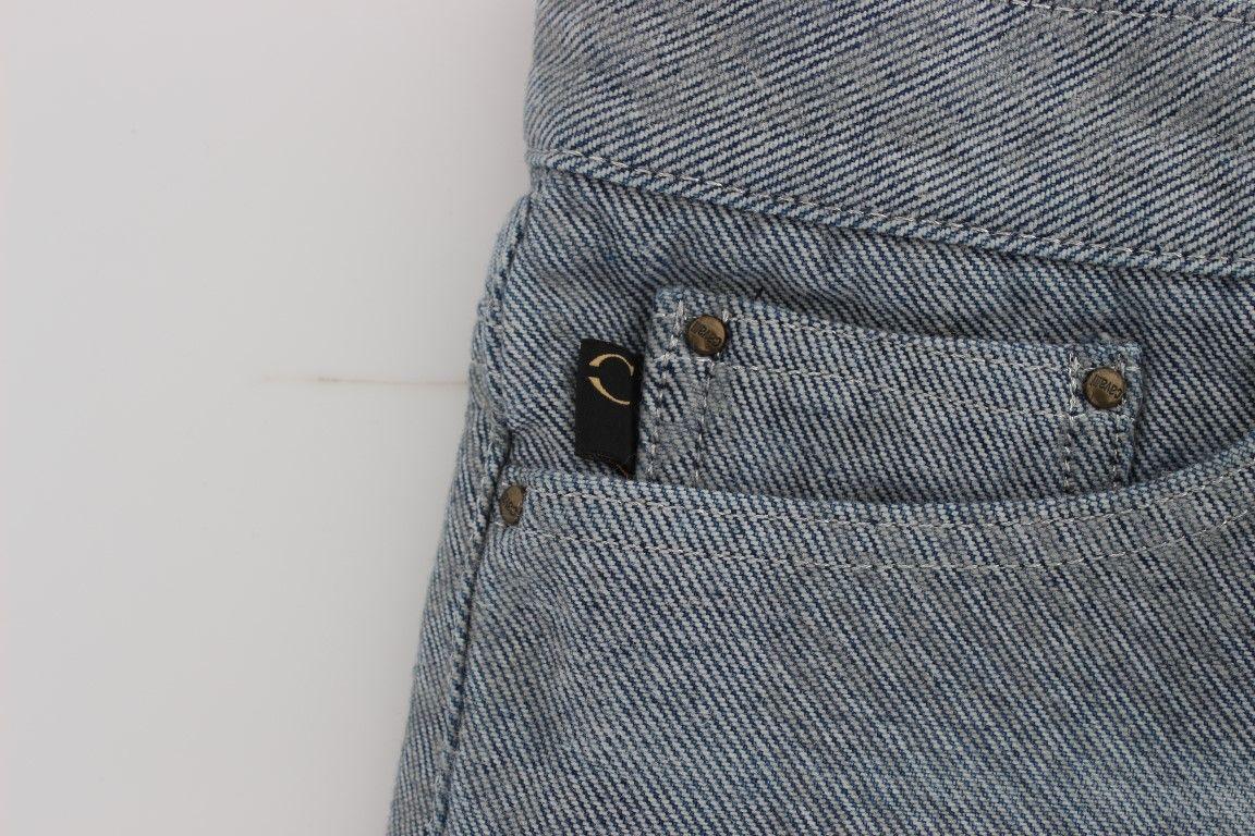 Cavalli Blue Cotton Slim Fit Denim Capri Cropped Jeans