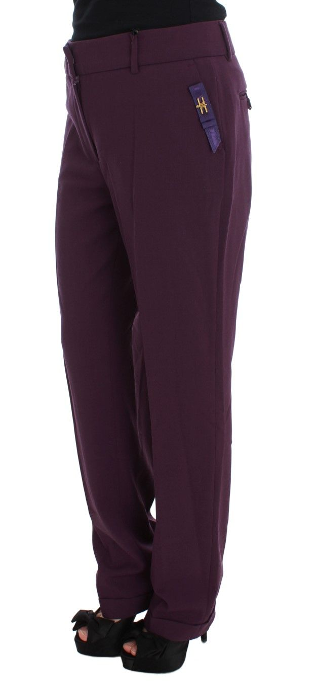 Cavalli Purple Polyester Blend Straight Dress Pants