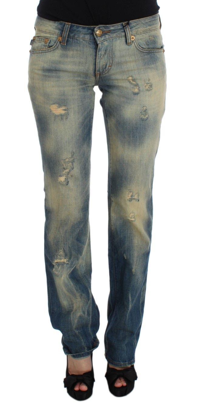 Cavalli Blue Wash Cotton Slim Fit Bootcut Jeans