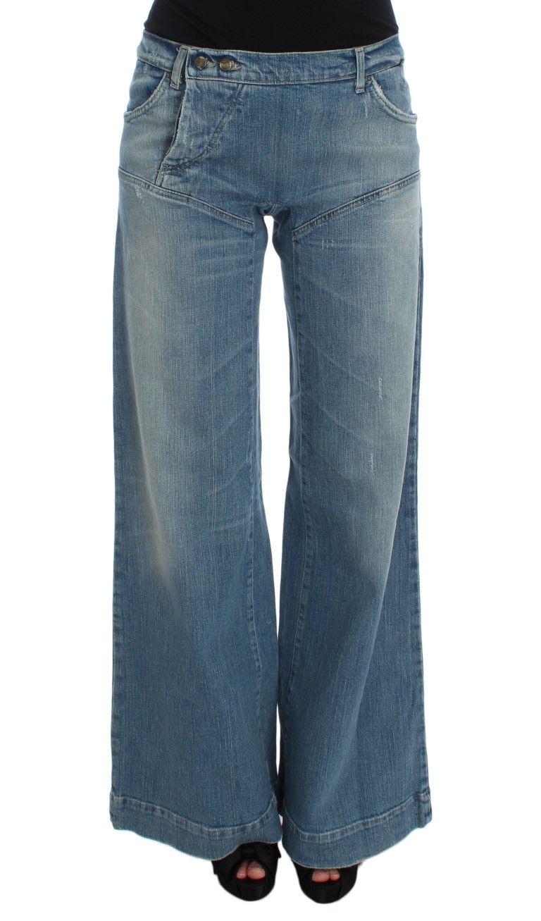 Cavalli Blue Wash Cotton Blend Wide Legs Jeans
