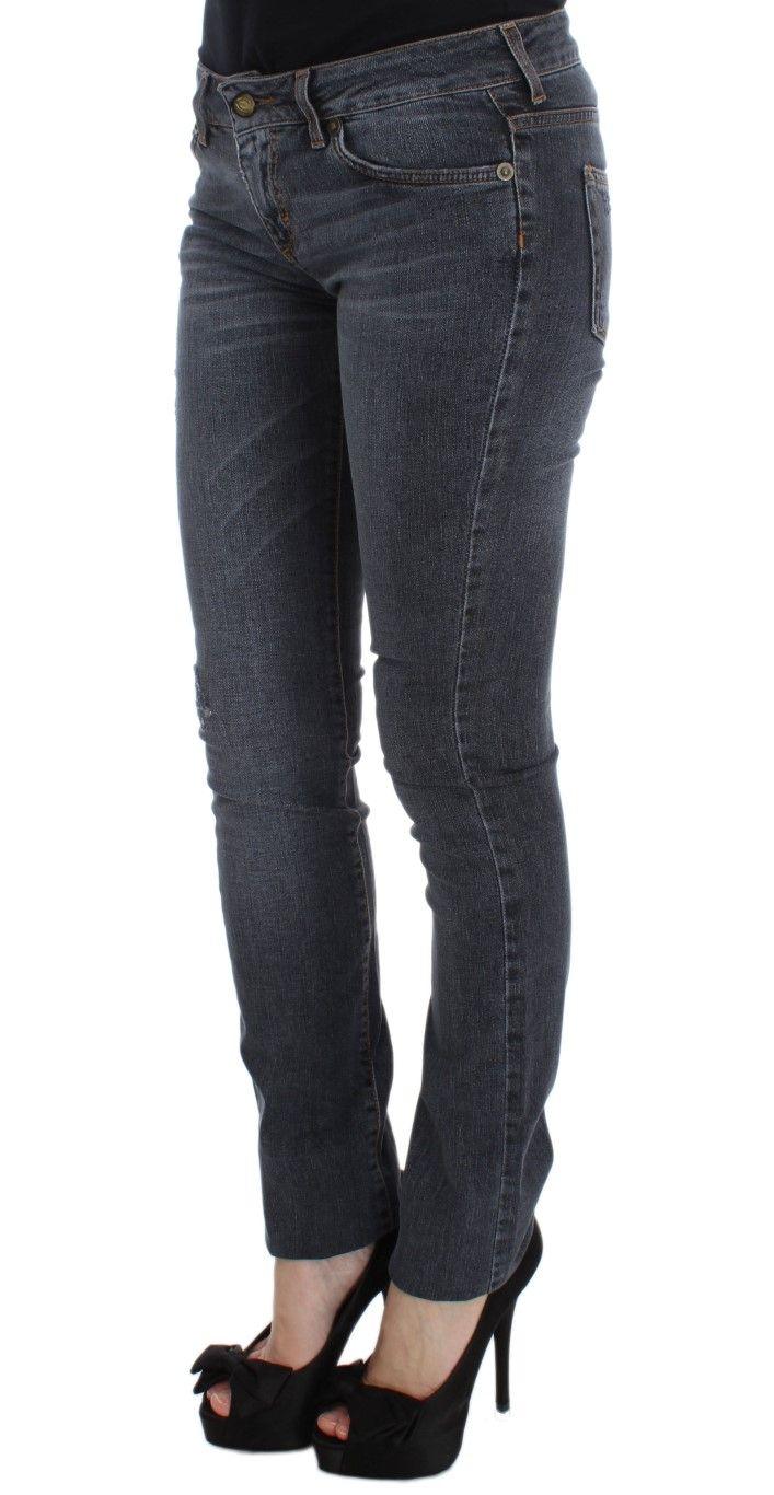 Cavalli Blue Wash Cotton Blend Slim Fit Jeans