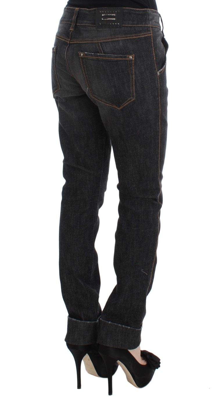 Ermanno Scervino Gray Cotton Slim Fit Denim Jeans