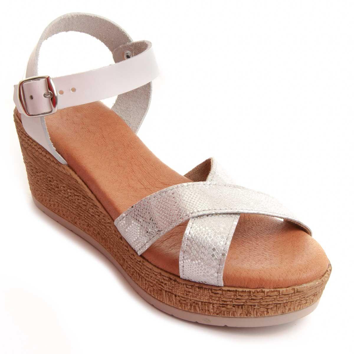 Purapiel Wedge Sandal in Silver