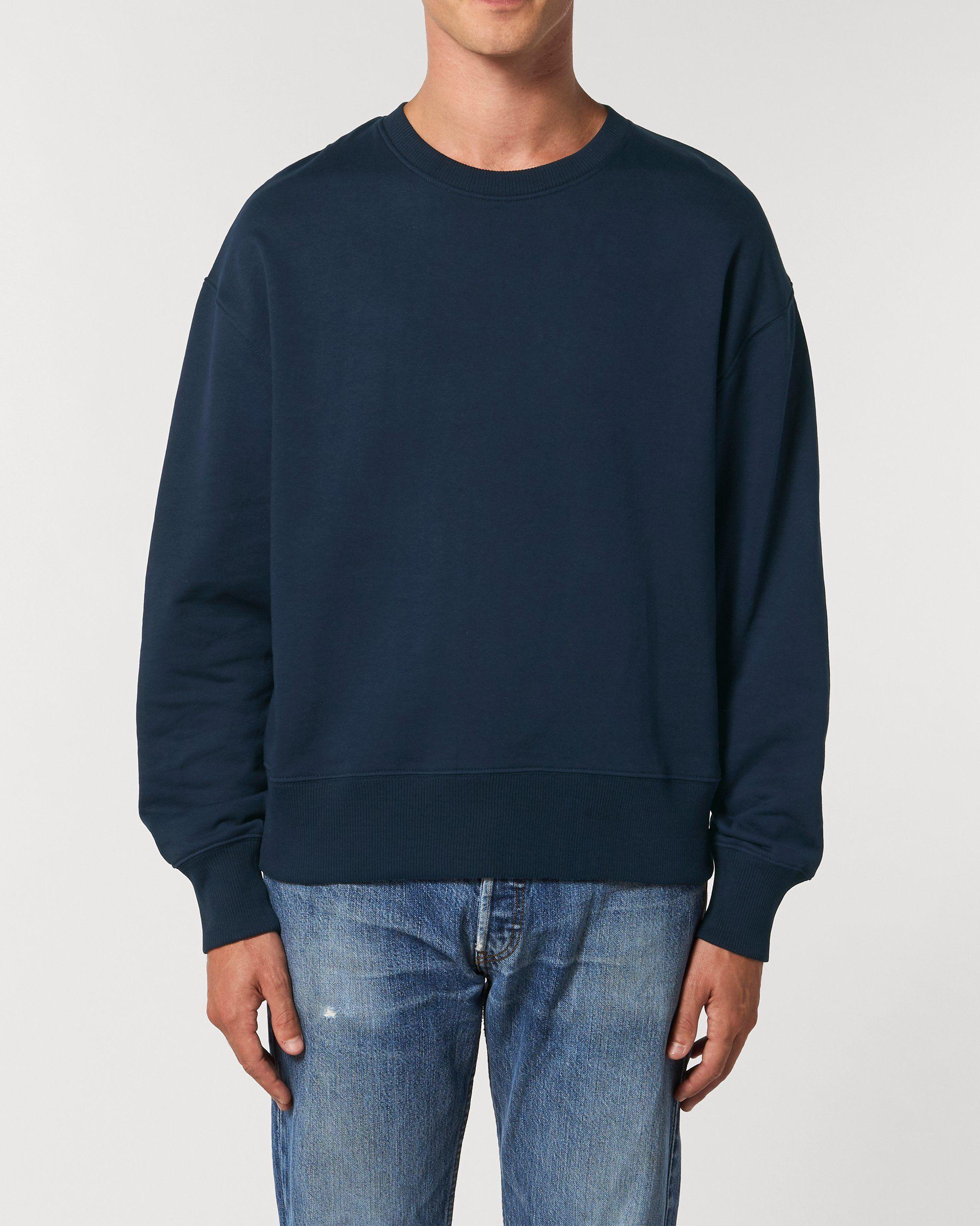 Dualism Unisex Relaxed Crew Neck Sweatshirt in Navy
