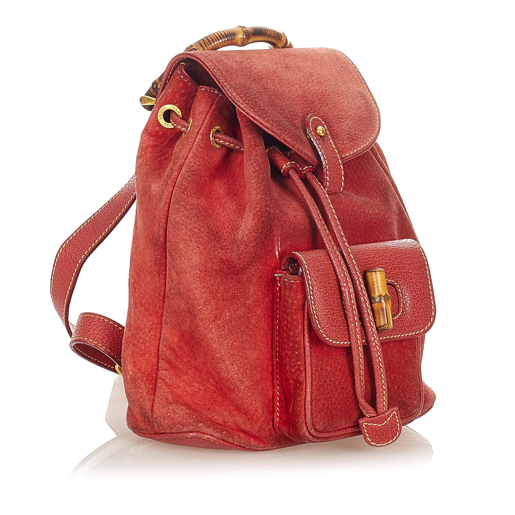 Vintage Gucci Bamboo Suede Backpack Red