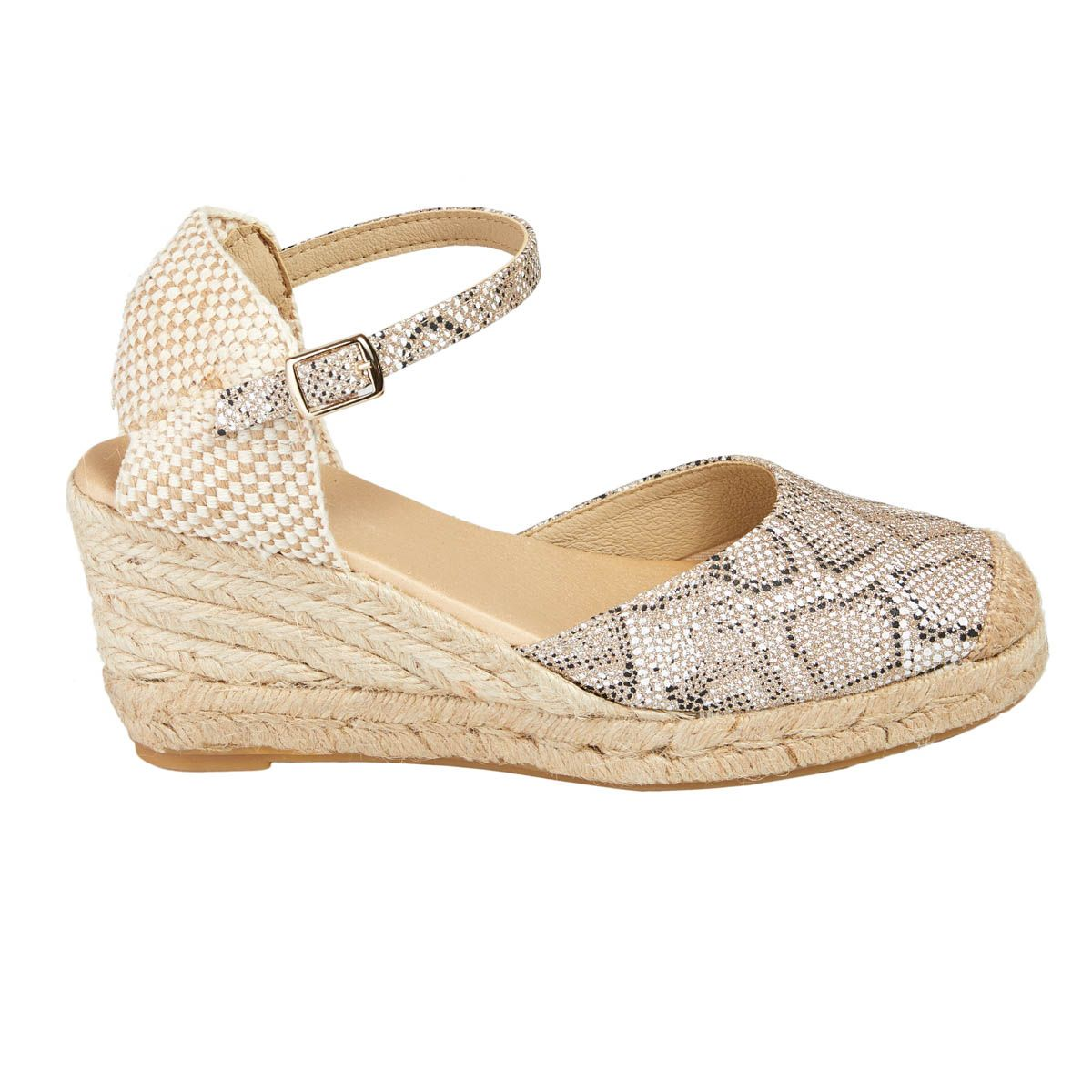 Leindia Ankle Strap Wedge Espadrille in Gold