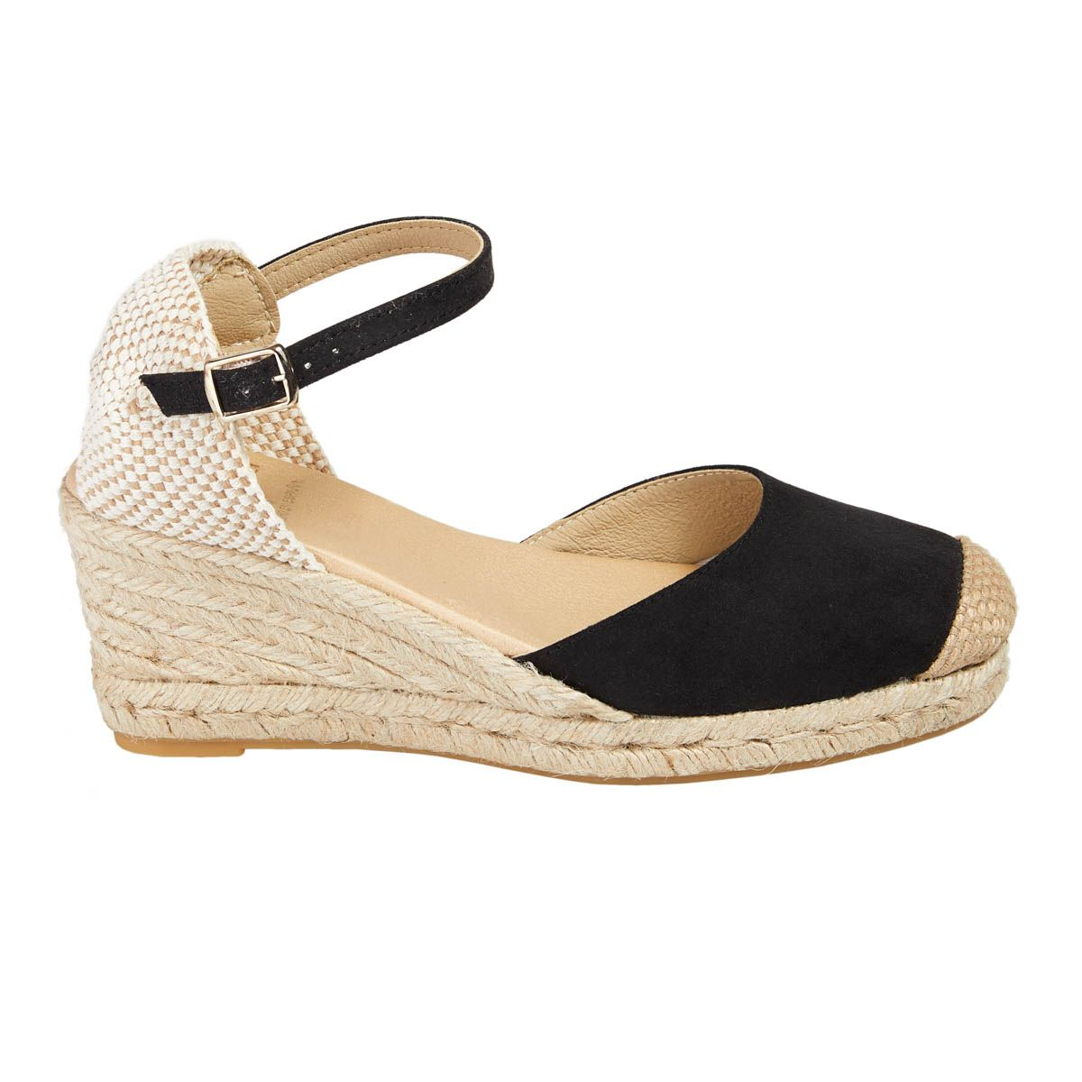 Leindia Ankle Strap Wedge Espadrille in Black