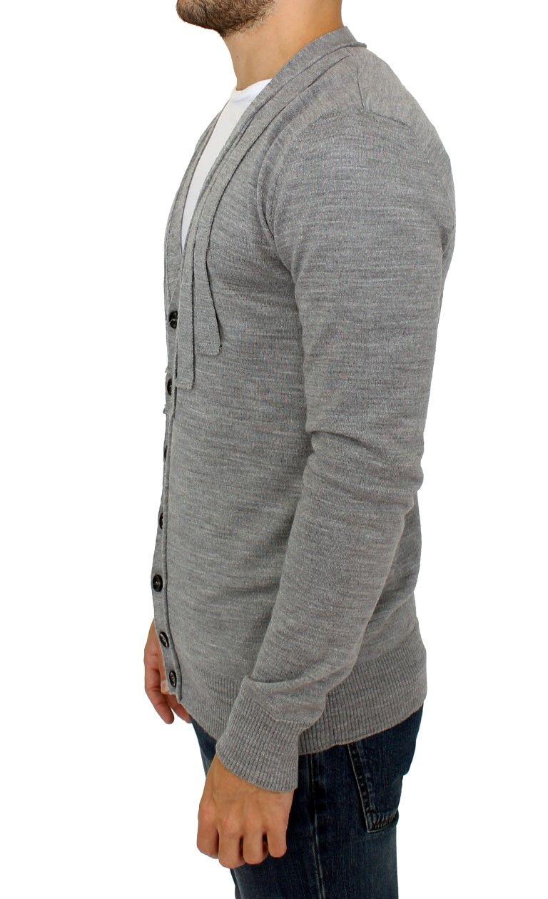 Karl Lagerfeld Gray wool cardigan sweater