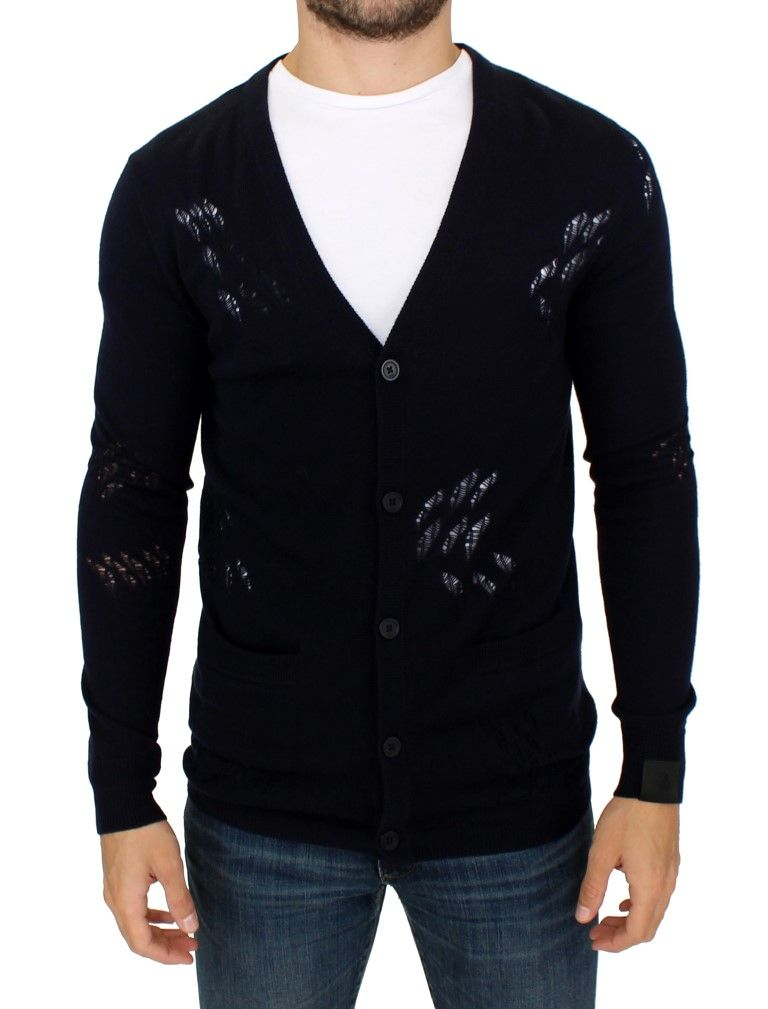 Karl Lagerfeld Blue wool cardigan sweater
