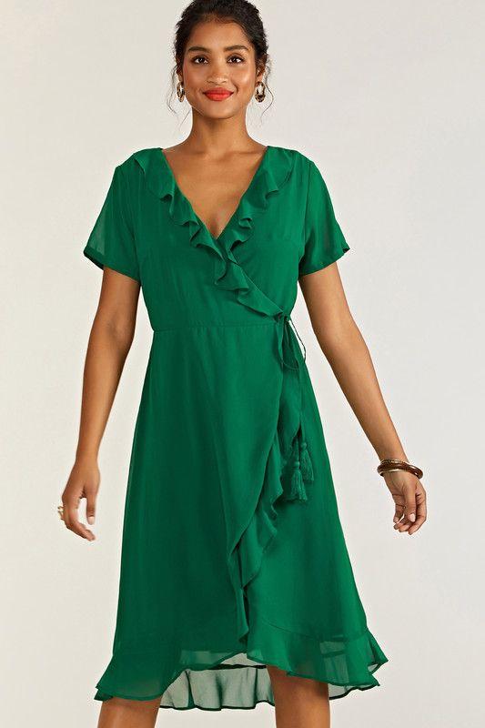 Green Frill Wrap Dress With Tassel Detail