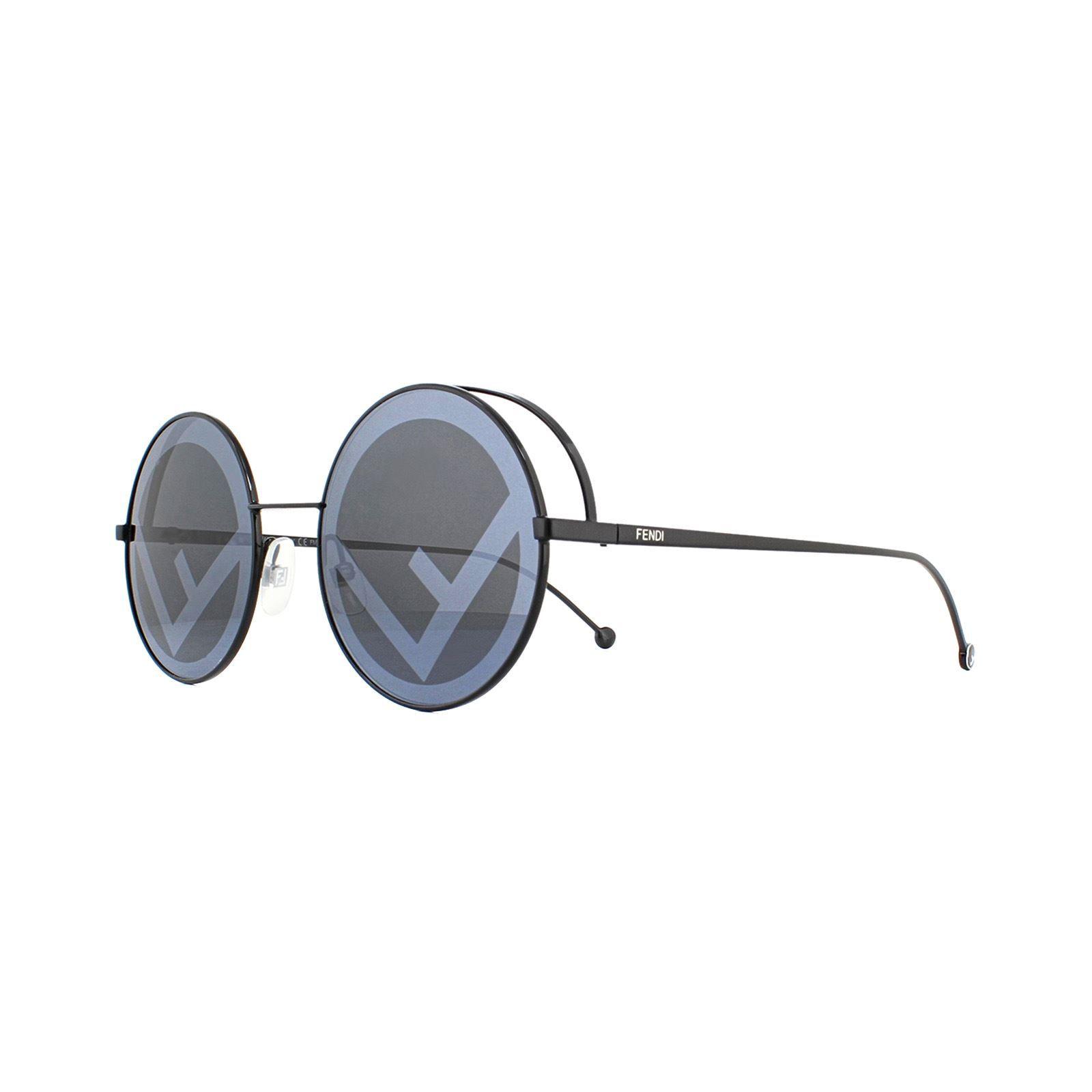Fendi Sunglasses FF 0343/S Fendirama 807 MD Black Grey Fendi logo