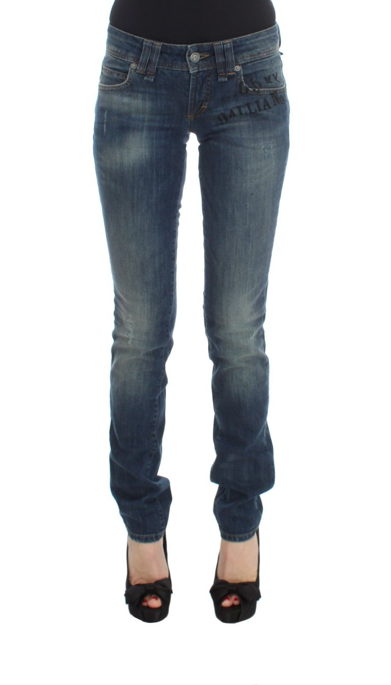 Galliano Blue Wash Cotton Blend Slim Fit Jeans