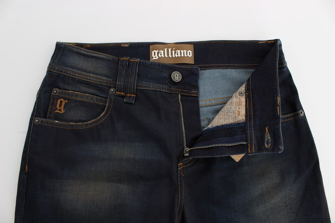 Galliano Blue Wash Cotton Blend Boyfriend Fit Jeans