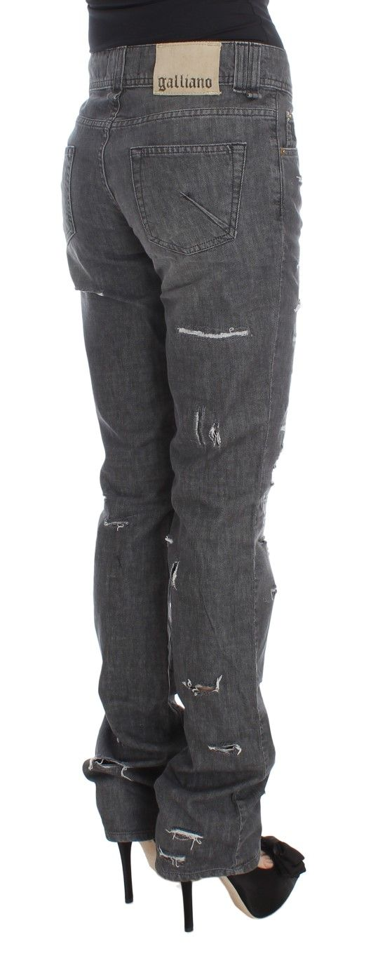 Galliano Gray Wash Cotton Torn Straight Fit Jeans