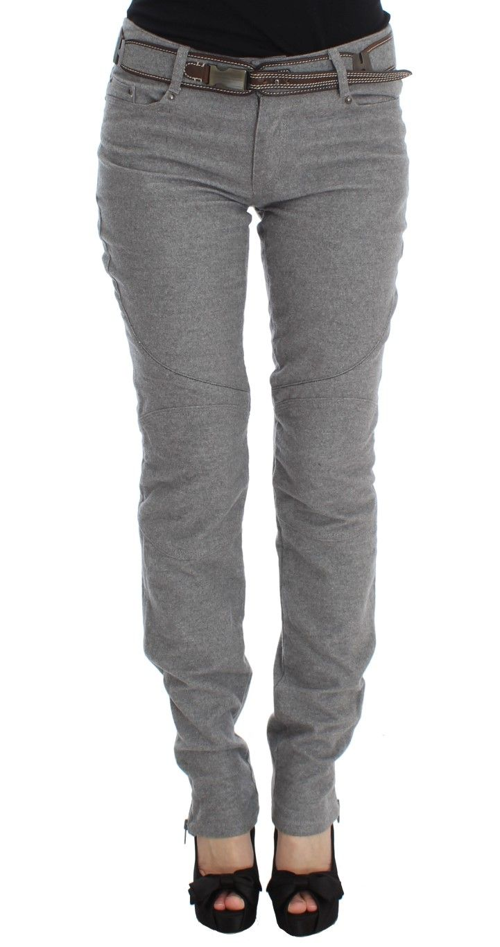 Ermanno Scervino Gray Cotton Slim Fit Casual Bootcut Pants