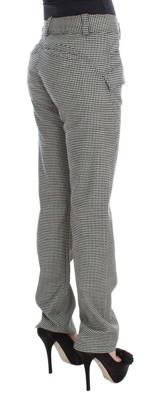 Ermanno Scervino Black White Checkered Cotton Casual Pants