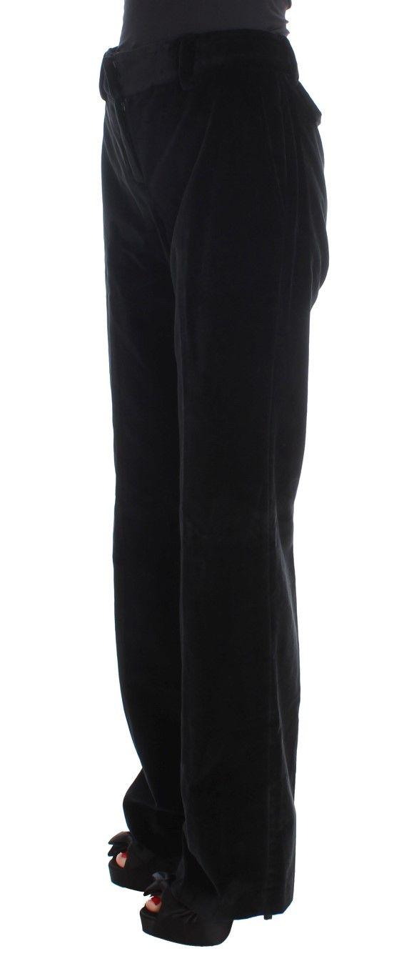 Ermanno Scervino Black Velvet Cotton Straight Legs Pants