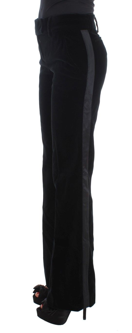 Ermanno Scervino Black Striped Velvet Viscose Bootcut Pants