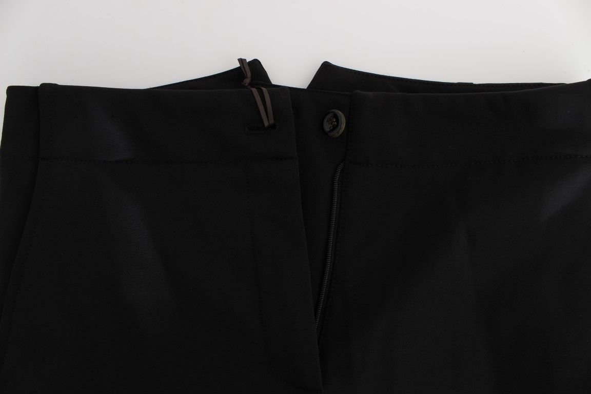 Ermanno Scervino Black Cotton Blend Capri Cropped Pants