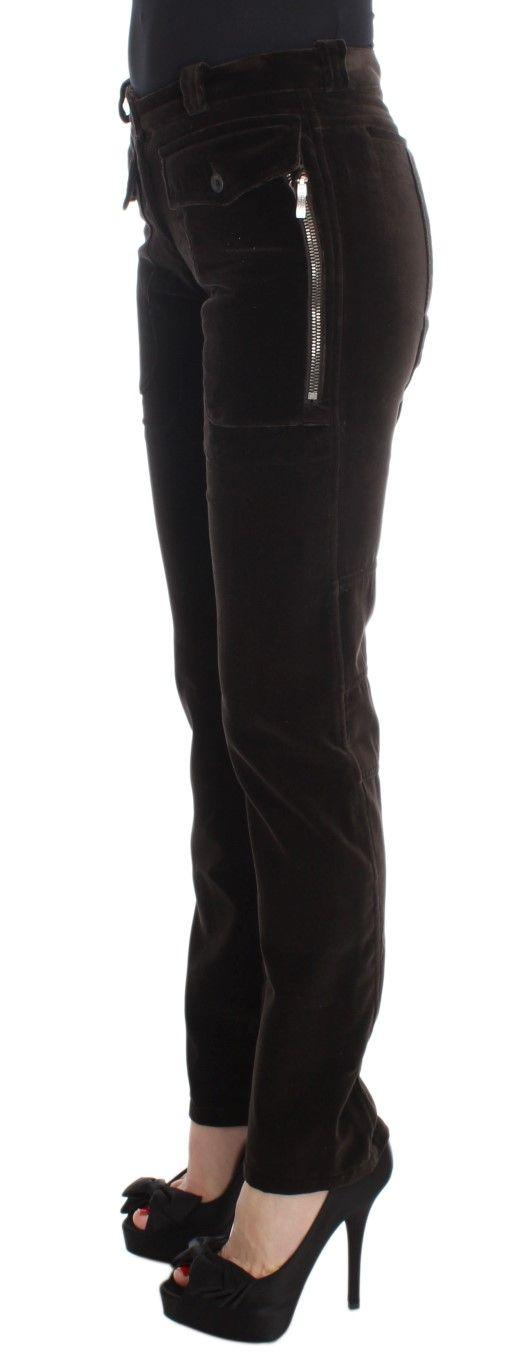 Ermanno Scervino Brown Cotton Velvet Zippers Slim Fit Pants