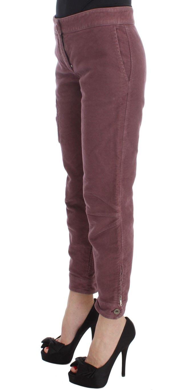 Ermanno Scervino Bordeaux Cotton Cropped Cargo Pants