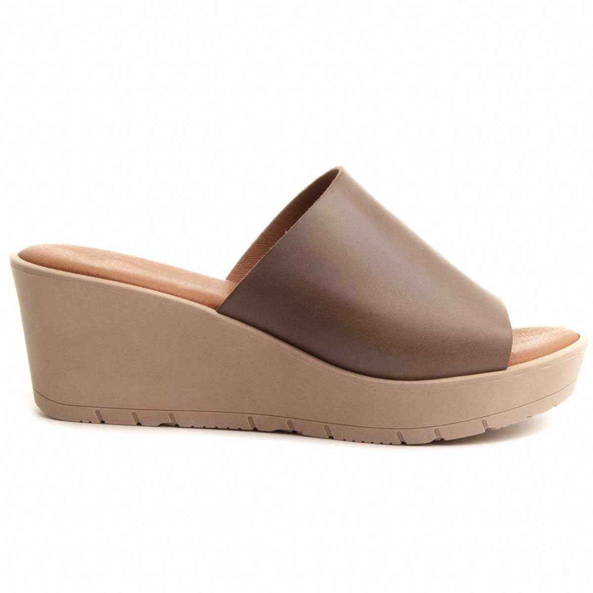 Purapiel Wedge Sandal in Brown