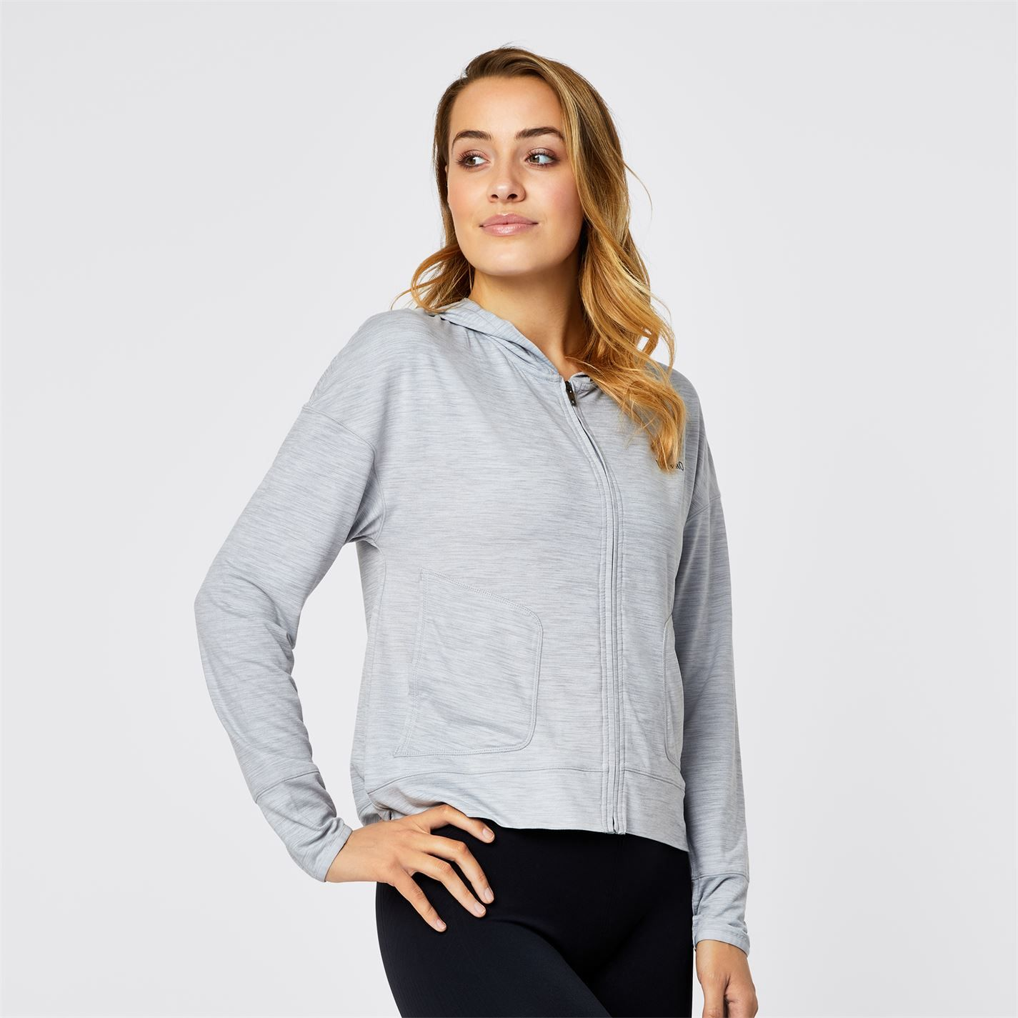 Usa Pro Womens Zip Front Lightweight Long Sleeve Slouch Hoodie Sports Top
