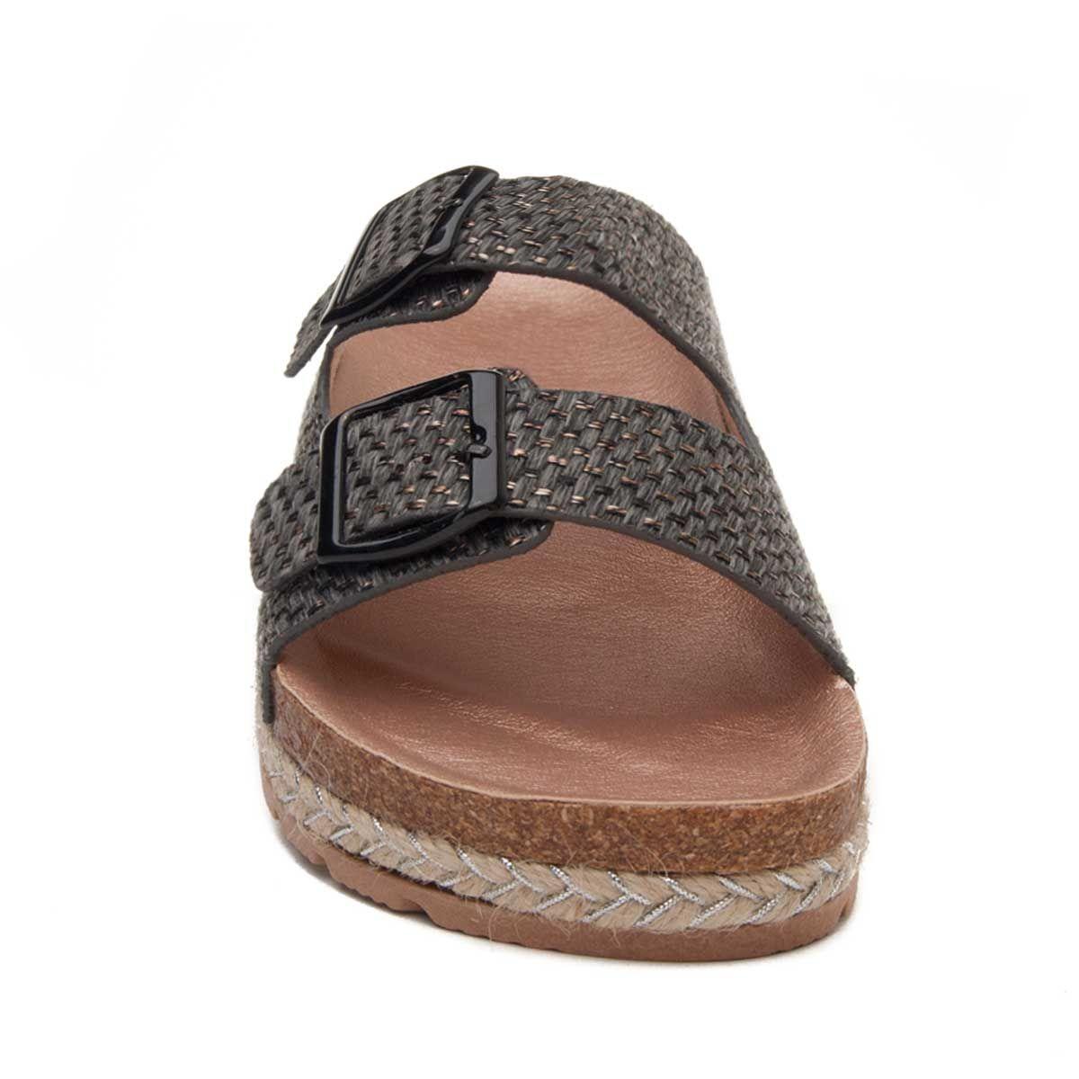 Montevita Double Buckle Flat Sandal in Grey