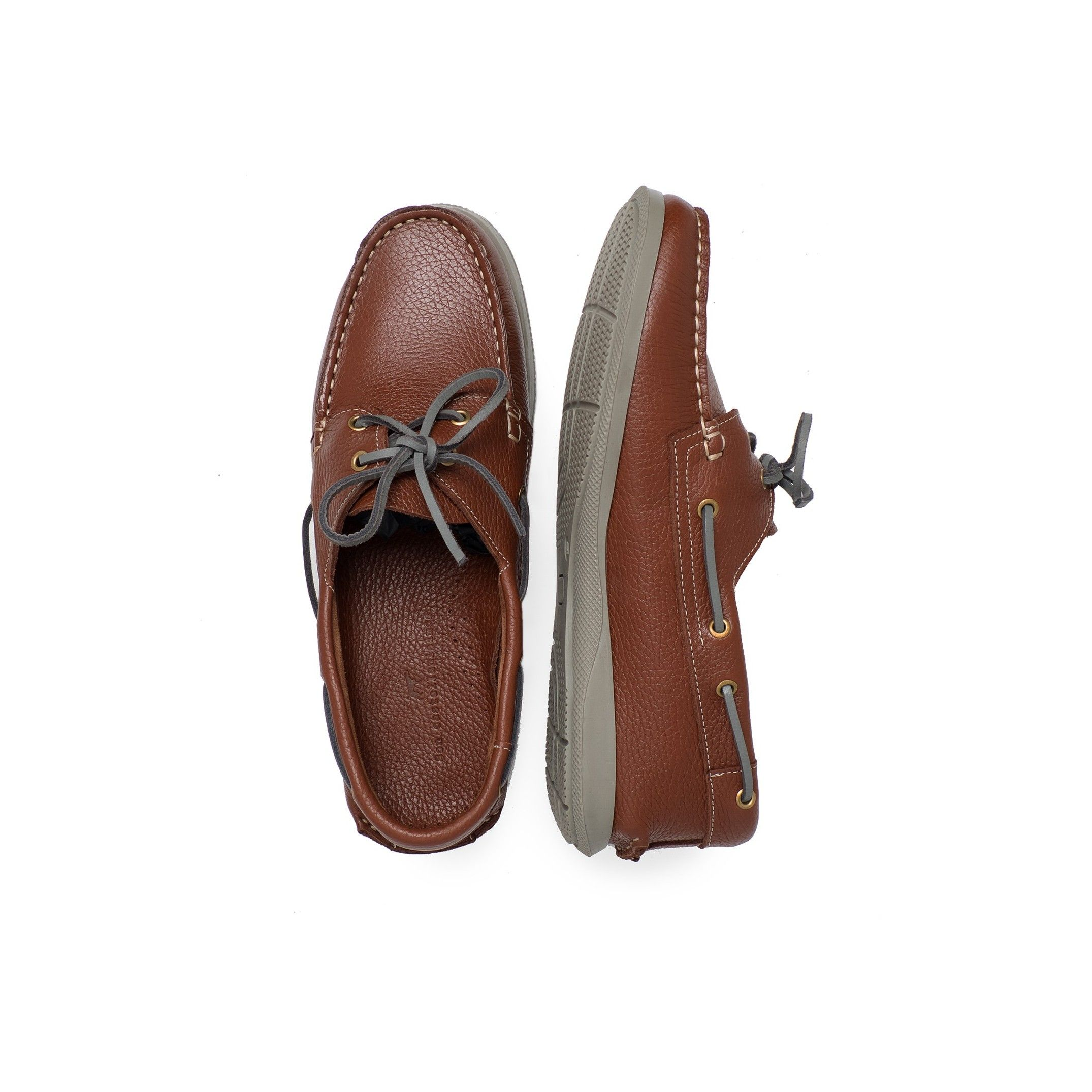 Men's Leather Boat Shoes in Brown