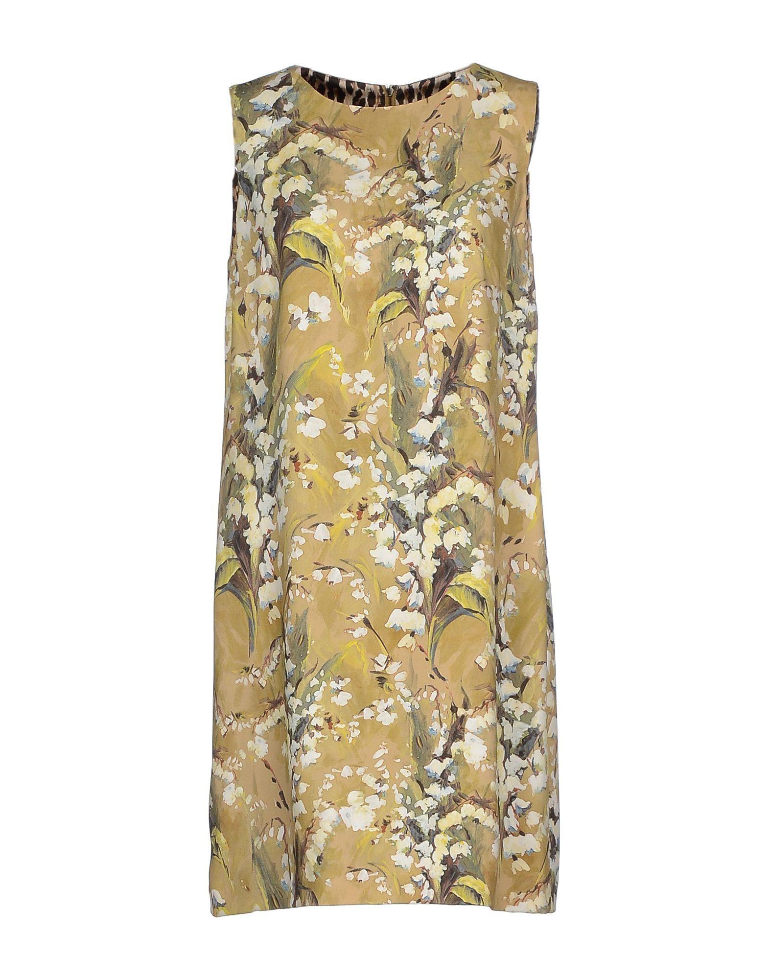 Dolce & Gabbana Sand Floral Design Sleeveless Dress