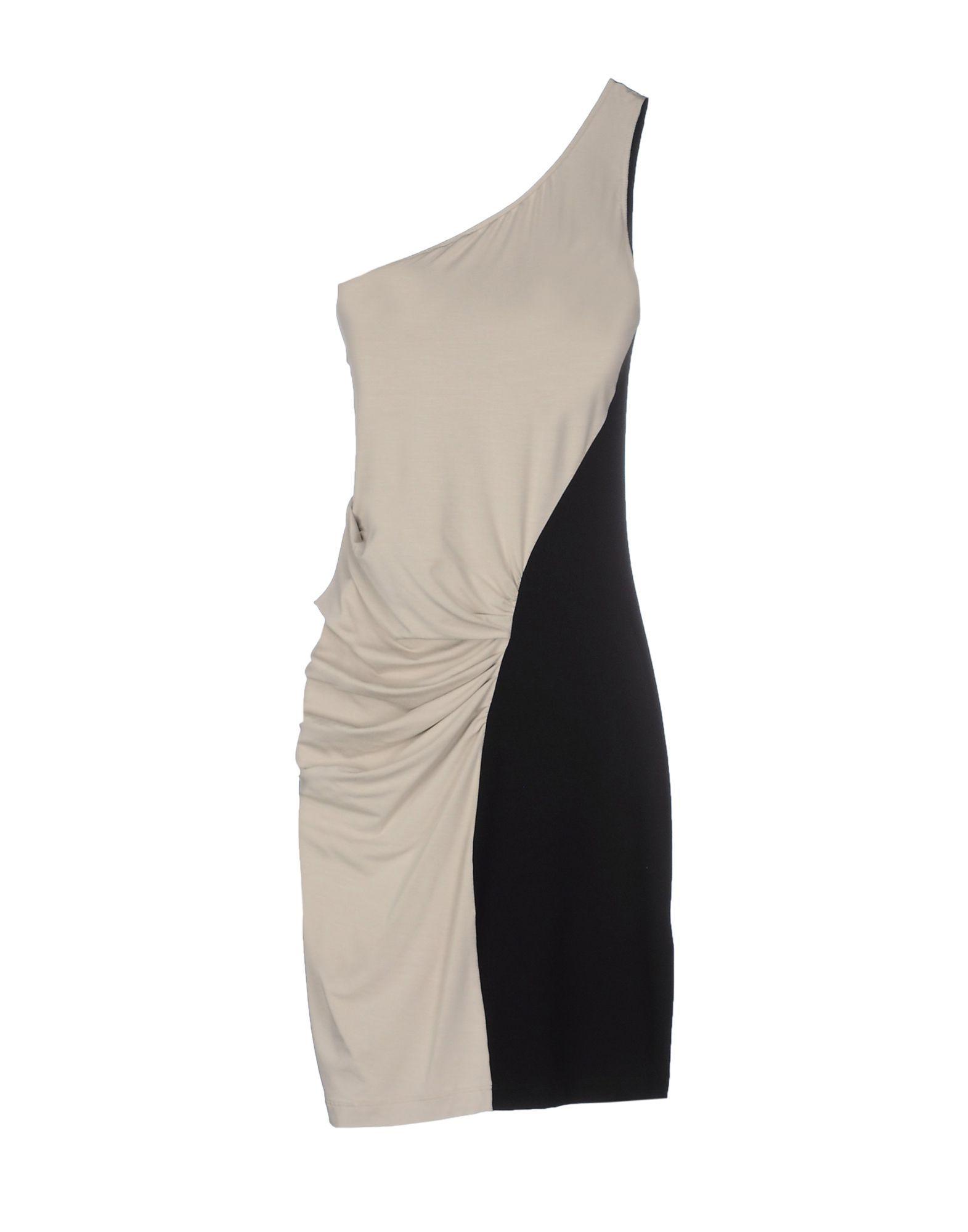 Patrizia Pepe Sera Light Grey Contrast One Shoulder Dress
